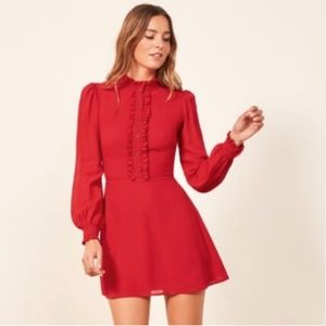 Reformation Mathilda Cherry Mini Dress Sz 6
